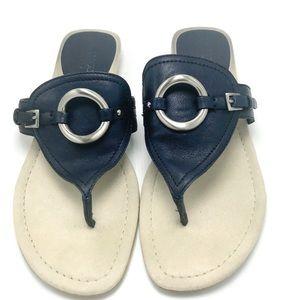 Franco Sarto Navy Leather Harbor Thong Sandals